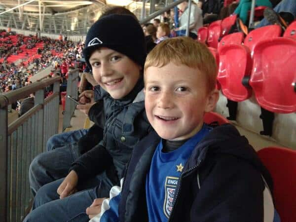 We have arrived @wembleystadium 2 very happy boys!…