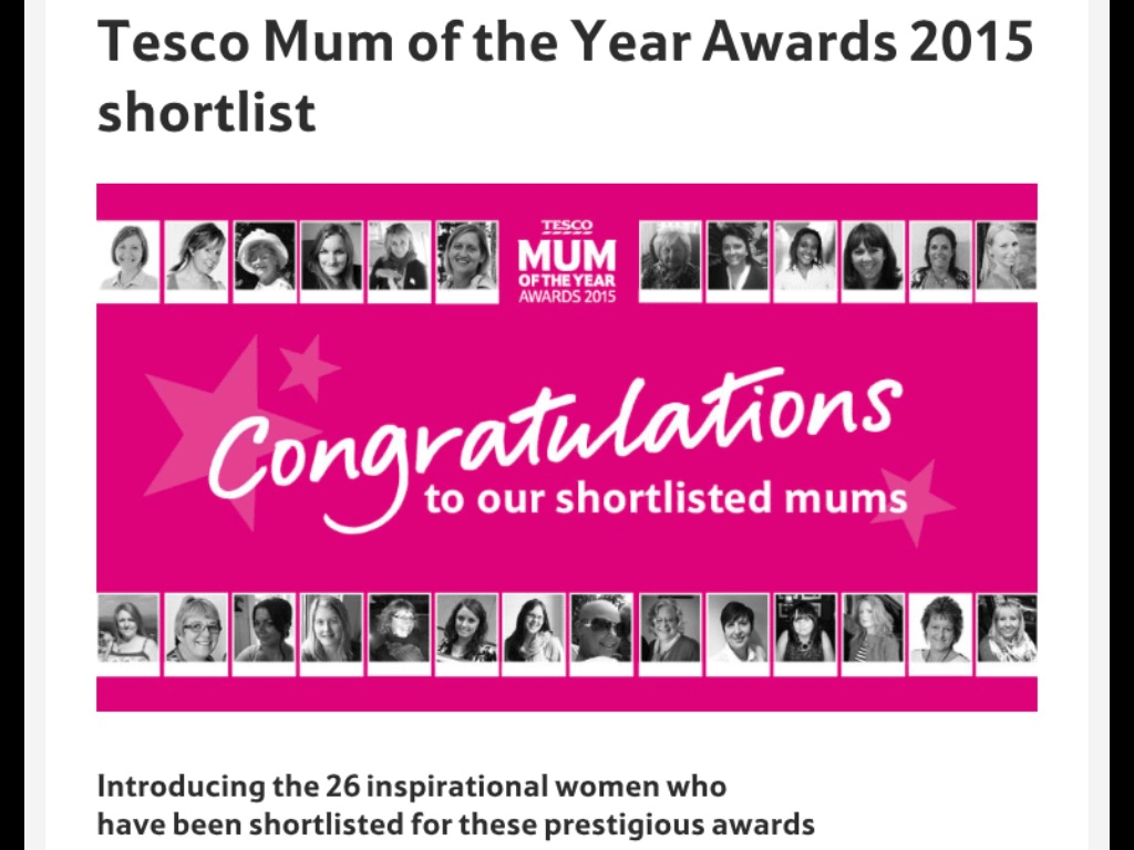 Tesco Mum of the Year Awards 2015 shortlist